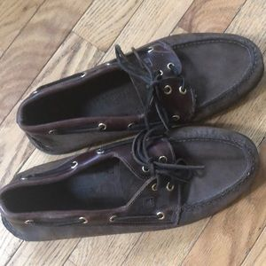 Sperry Shoes - Men's brown leather boat shoes EUC
